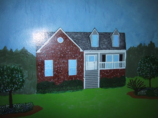 Our house at the time my husband painted this mural