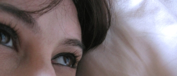 close up woman's eyes